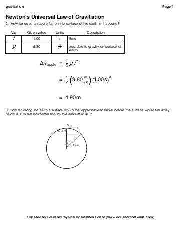 Newton s Universal Law of Gravitation continued