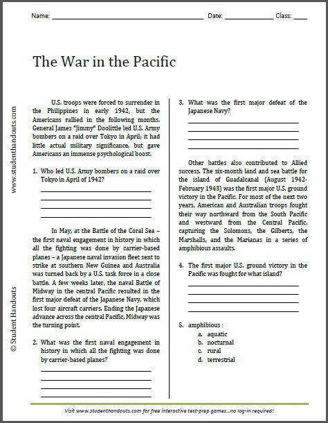 The War in the Pacific Reading Worksheet