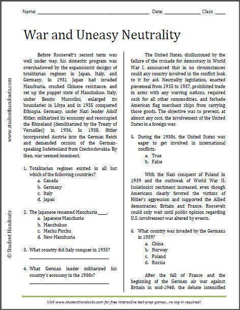 War and Uneasy Neutrality Reading Worksheet