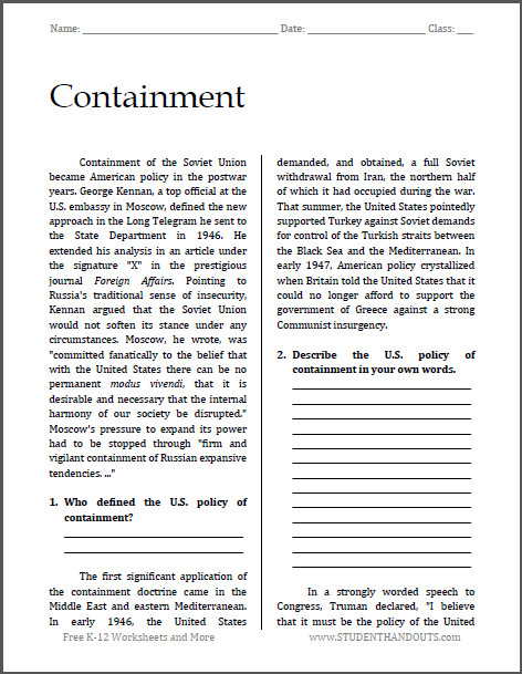Containment Cold War Reading with Questions Free to print PDF file for high school United States History teachers and students