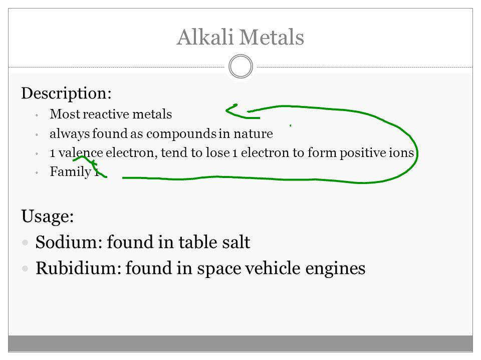 Description Most reactive metals always found as pounds in nature 1 valence electron tend to lose 1 electron to form positive ions Family 1 Usage