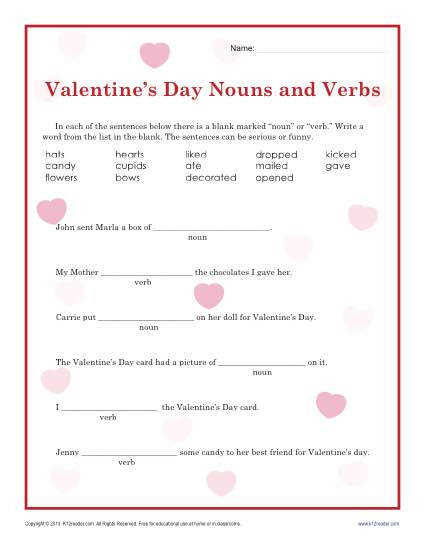 Valentine s Day Nouns and Verbs