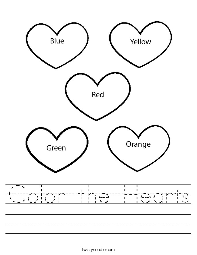 Color the Hearts Handwriting Sheet