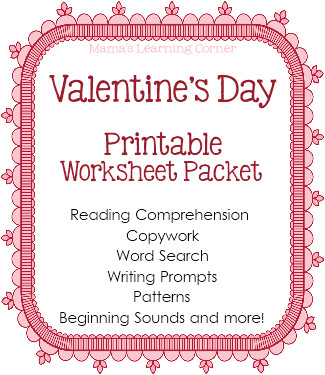 Valentine s Day Worksheet Packet from Mama s Learning Corner