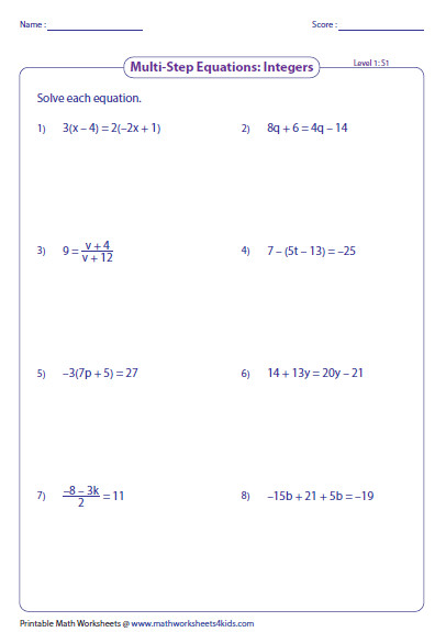 Variables On Both Sides Worksheet Homeschooldressage