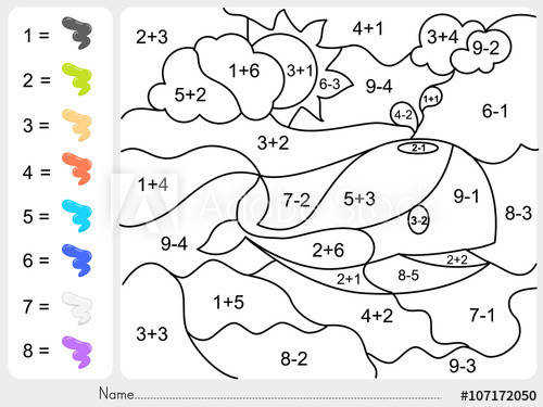 Paint color by addition and subtraction numbers Worksheet for education