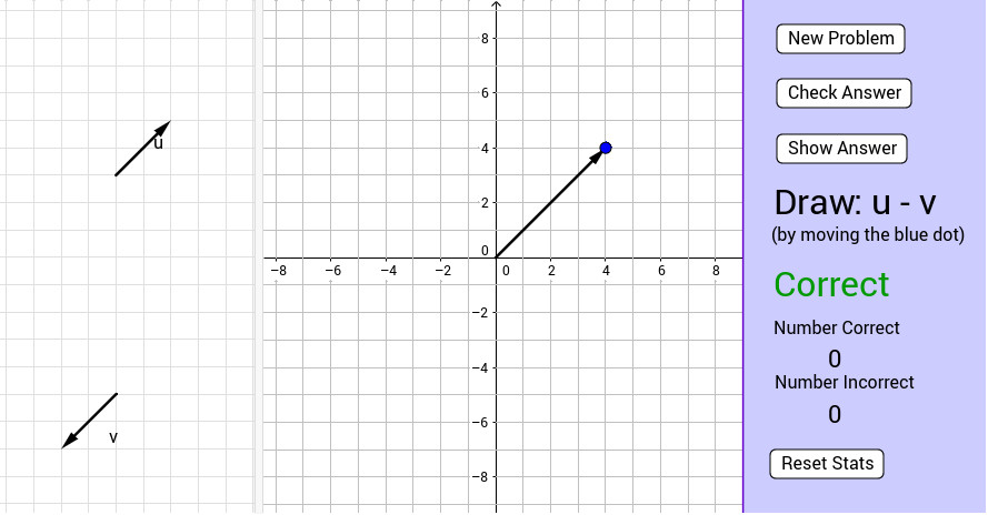This worksheet is for practice adding and subtracting vectors There are two vectors u and v shown on the left side of the screen