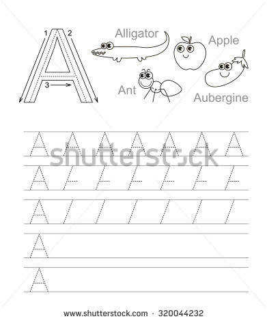 Vector exercise illustrated alphabet Learn handwriting Tracing worksheet for letter A Page to