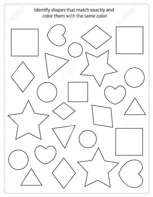 Kids Worksheet With Shapes To Match And Color Same Shape Stock Vector 64 Cool By In