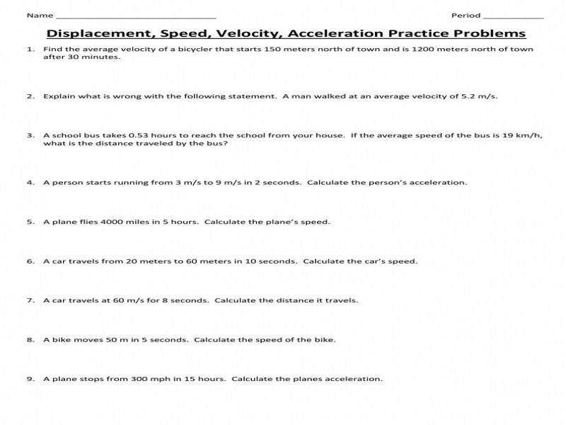 Worksheet Speed Velocity Acceleration Worksheet Luizah Worksheet