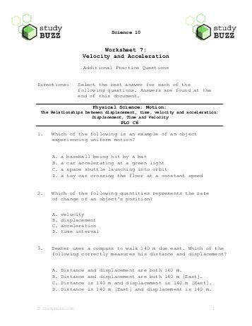 Worksheets Displacement And Velocity Worksheet displacement and velocity worksheet page 2 intrepidpath in cl on velocity
