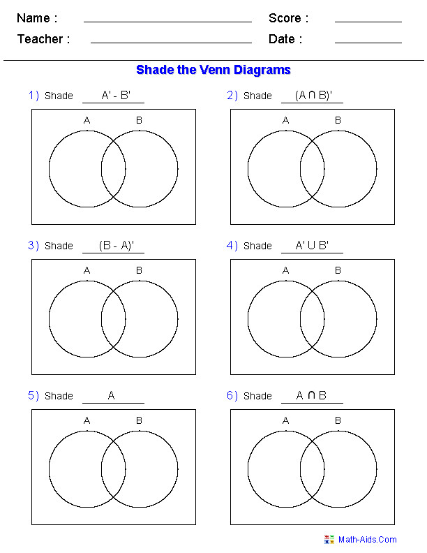 Venn Diagram Worksheets Shade the Regions Using Two Sets