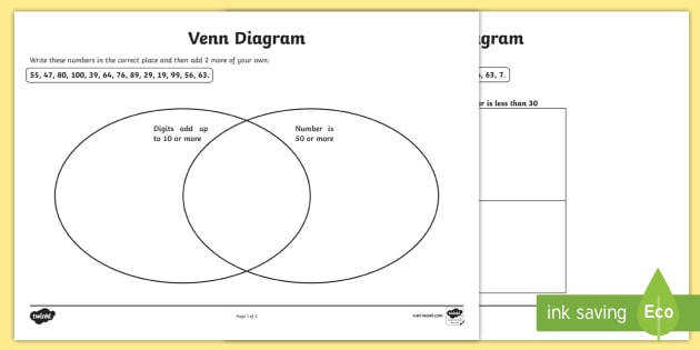 Carroll and Venn Diagram Worksheets venn diagram worksheet carroll diagram worksheet diagram worksheets