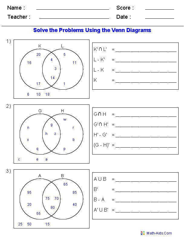 Venn Diagram Worksheets Set Notation Problems Using Two Sets