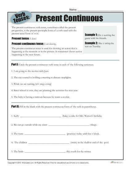 Verb Tense Worksheet Present Continuous