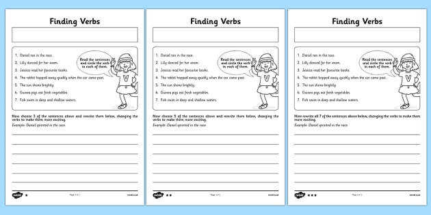 Finding Verbs Activity Sheet finding verbs activity sheet worksheet