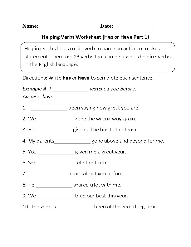 Helping Verbs Worksheet