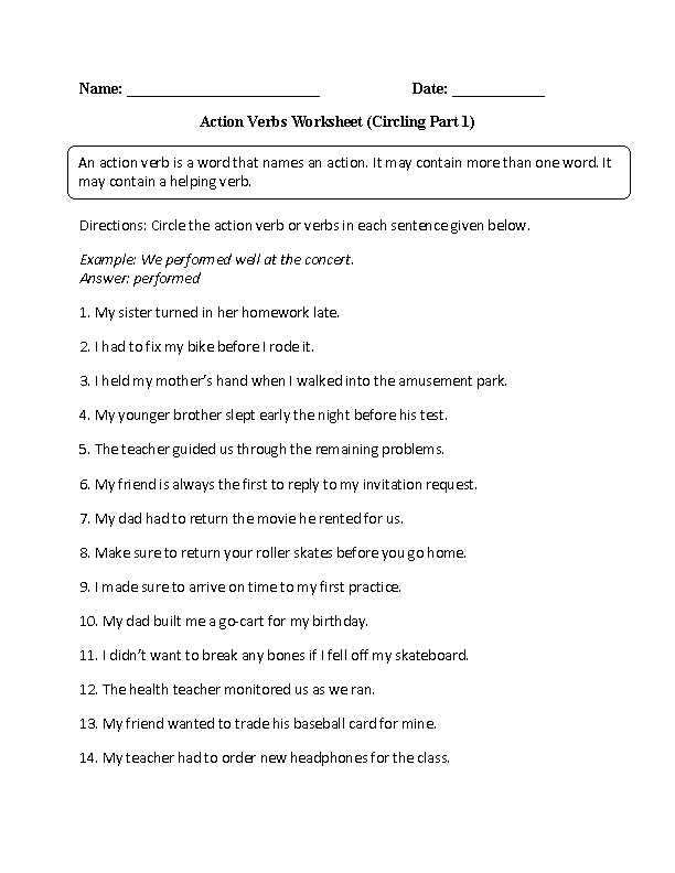 Action Verbs Worksheet Part 1