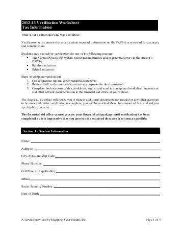 2012 13 Verification Worksheet Tax Information Mapping Your Future