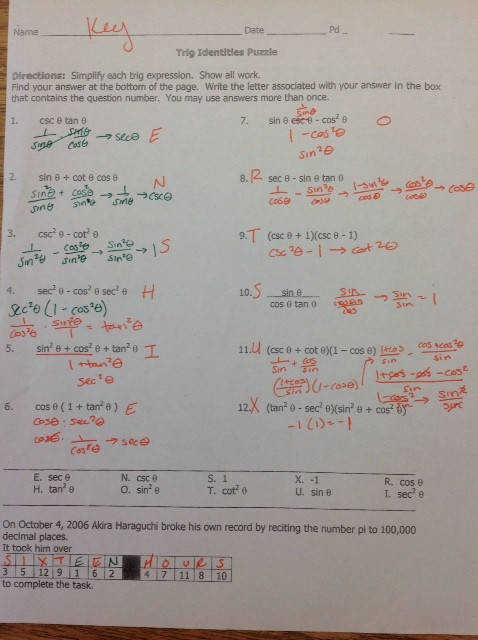 Answers to verifying practice on back of puzzle sheet PC PS 6 4 1 6 7 10 11 16 17 22 22 25