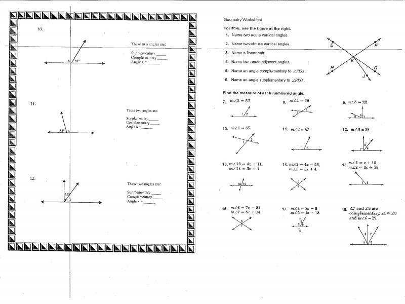 Worksheet Download plementary And Supplementary Angles