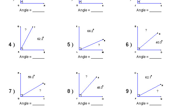 adjacent and vertical angles worksheet match problems and answers