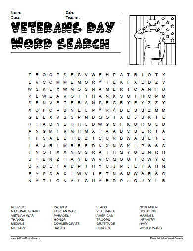 Free Printable Veterans Day Word Search