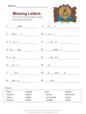 Thanksgiving Vocabulary Fun Worksheet Set