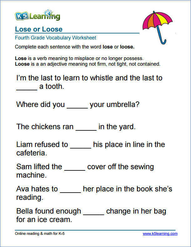 Grade 4 lose or loose vocabulary worksheet