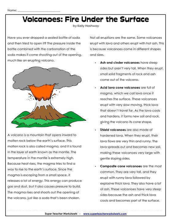 Free volcano Worksheets for teaching and learning all about volcanoes Science projects