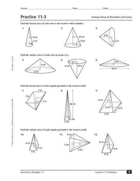 Worksheets Surface Area And Volume Grade 7 Worksheet practice 11 3 surface area of pyramids and