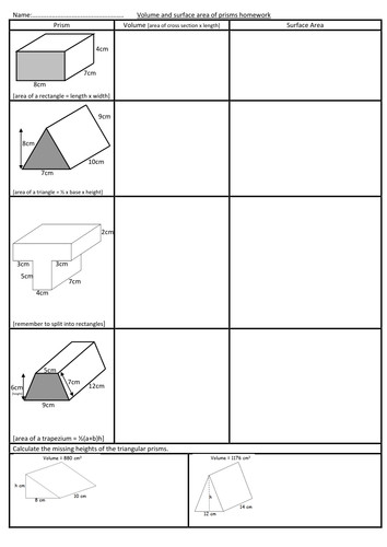 Volume and surface area of prisms worksheet by swaller25 Teaching Resources Tes
