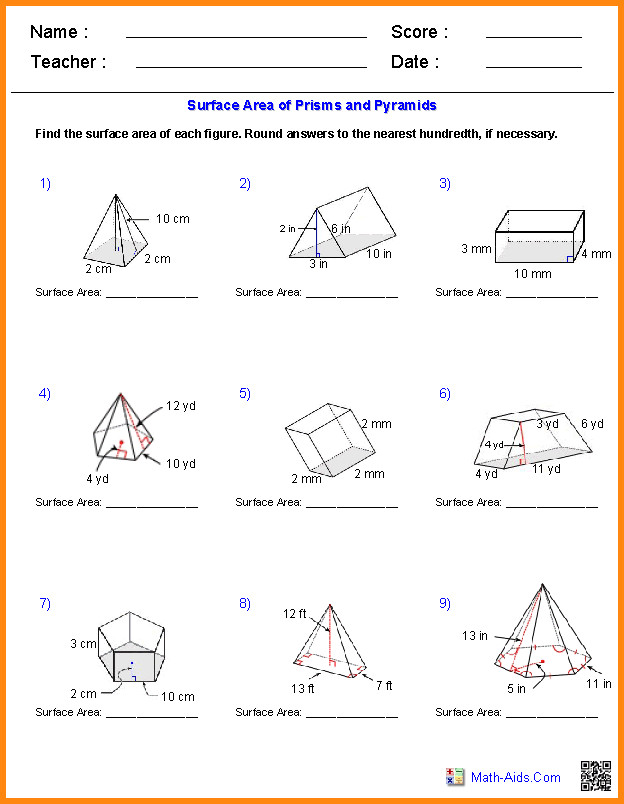 area and volume worksheets geometry surface prisms pyramids 5
