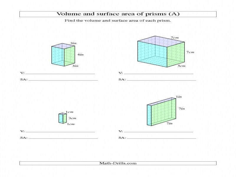 Volume And Surface Area Rectangular Prisms With Whole Numbers A