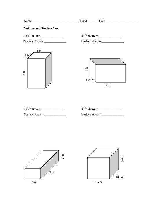 volume and surface area worksheets Volume and Surface Area Worksheets PDF school Pinterest