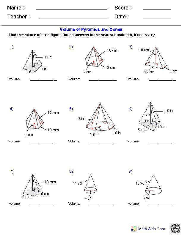 Pyramids and Cones Surface Area Worksheets