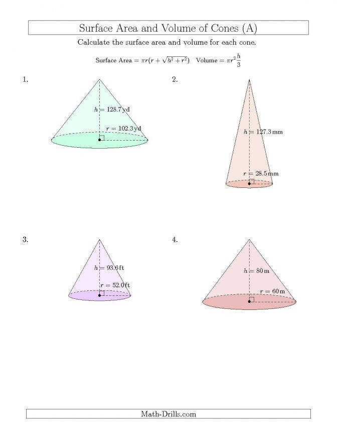 Volume And Surface Area Cones Input Values A Worksheets Math Drills Cones Volume Surfacearea