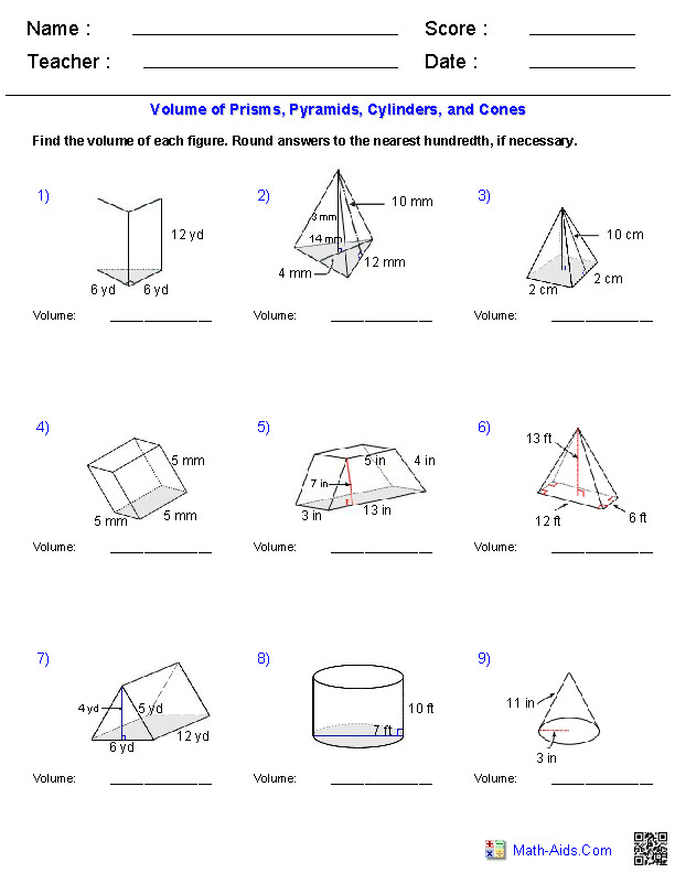 Prisms Pyramids Cylinders & Cones Volume Worksheets