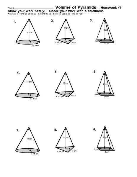 Volume of Pyramids 7th 9th Grade Worksheet