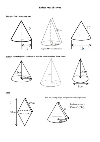 Surface Area of Cones worksheet by siyoung91 Teaching Resources Tes
