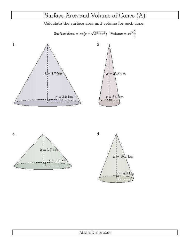 Volume and Surface Area of Cones e Decimal