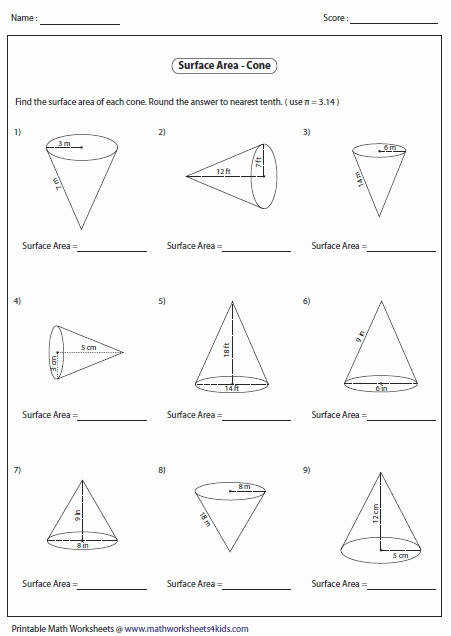 volume of a cone worksheet. Black Bedroom Furniture Sets. Home Design Ideas