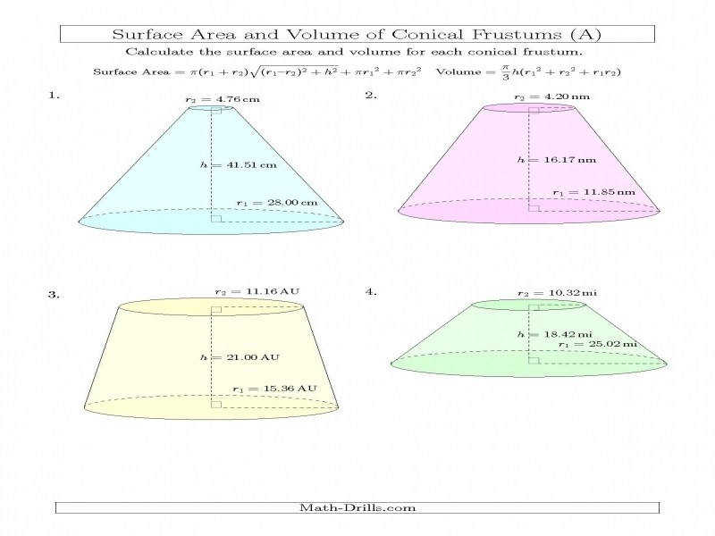 Volume And Surface Area Conical Frustums Two Decimal Places A