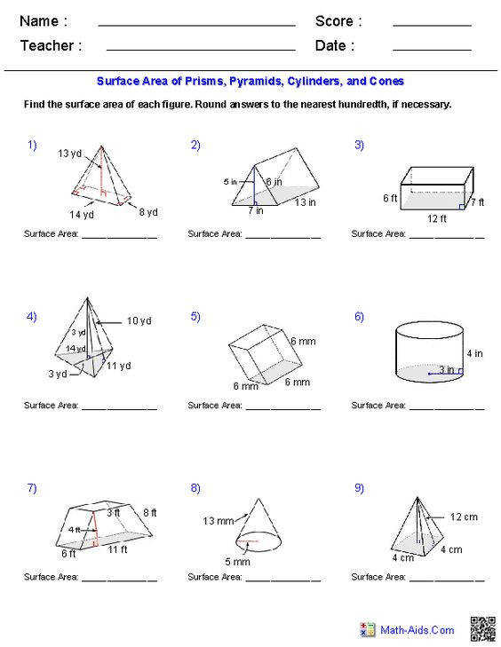Worksheets Surface Area Pyramids Worksheet worksheets area and surface on pinterest prisms pyramids cylinders cones