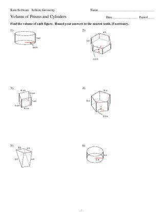 Surface Area Prisms And Cylinders Worksheet