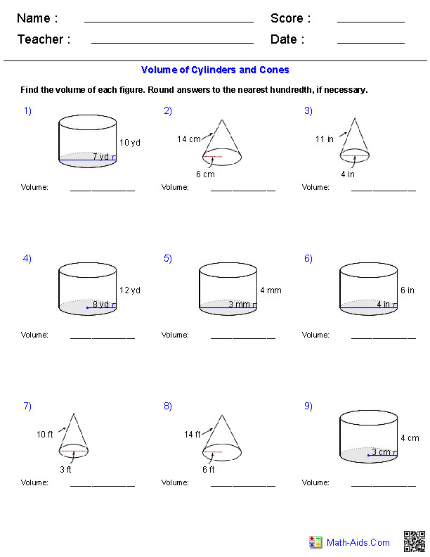 Cylinders and Cones Volume Worksheets