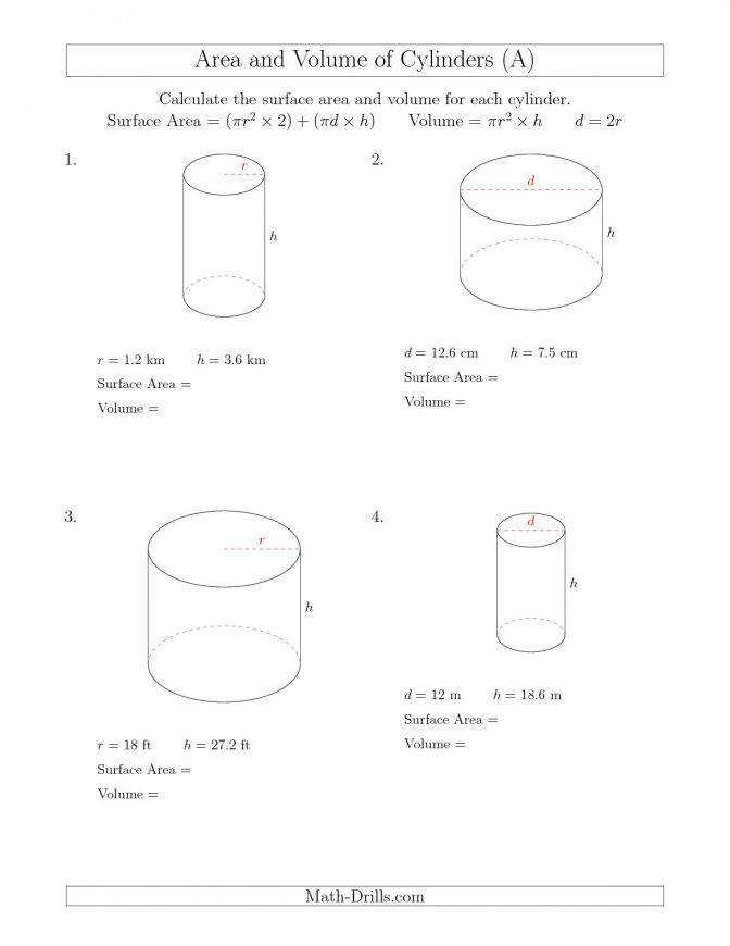 Calculating Surface Area And Volume Cylinders A Math Worksheets Pdf Geom Cylinders 00 Volume Math
