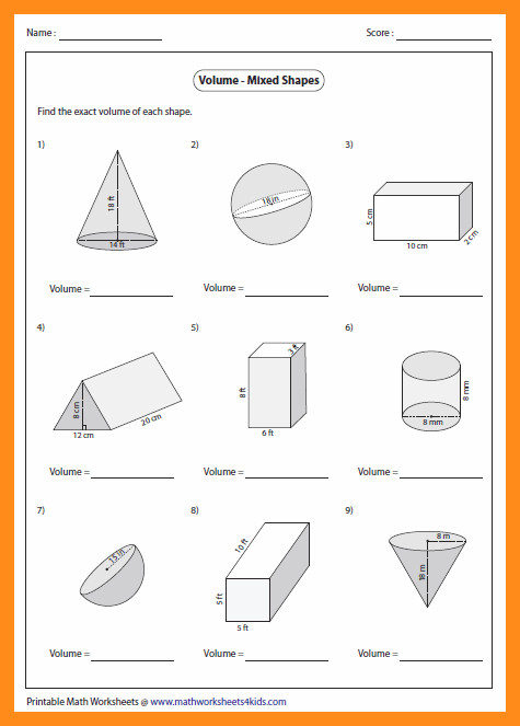 volume of a cylinder worksheet mixed shapes large