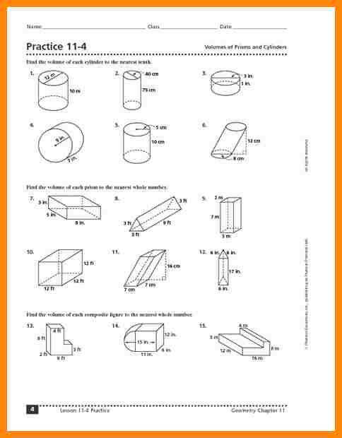 volume of cylinders worksheetactice 11 4 volumes of prisms and cylinders worksheet