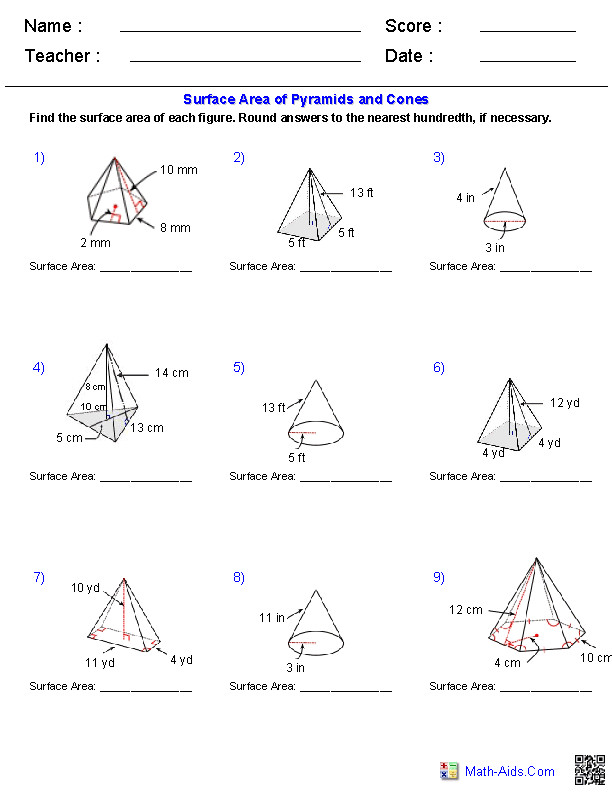 Surface Area & Volume Worksheets